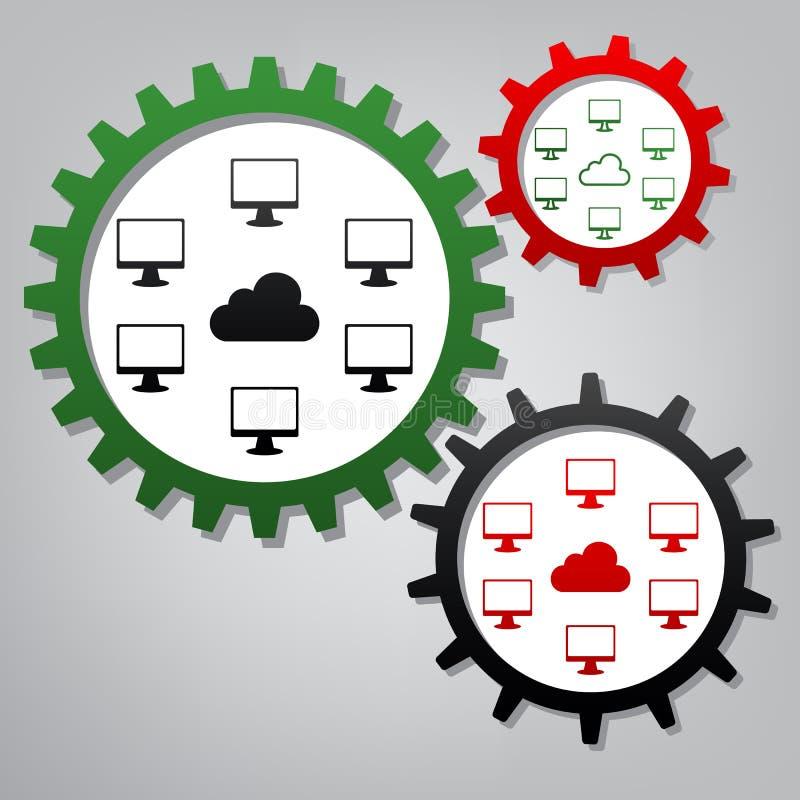 Signe de nerk d'ordinateurs Vecteur Trois vitesses reliées avec des icônes à illustration de vecteur