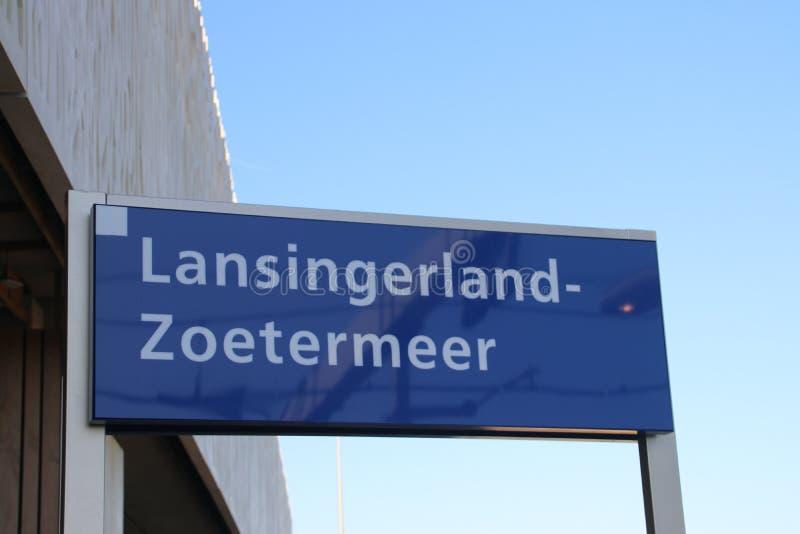 Signe de nom au zoetermeer de lansingerland de gare ferroviaire image stock