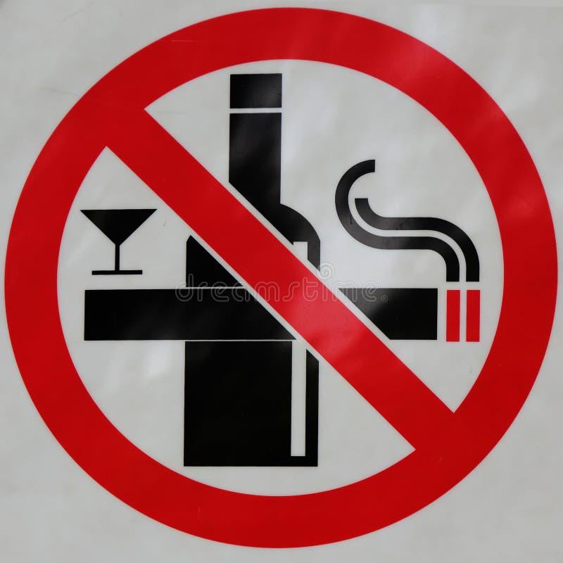 Signe de non-fumeurs et d'aucune boisson images libres de droits