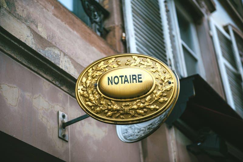 Signe de Notaire photographie stock libre de droits
