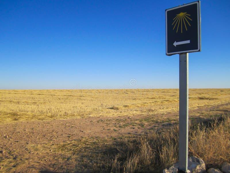 Signe de pèlerin chez le Camino De Santiago photographie stock