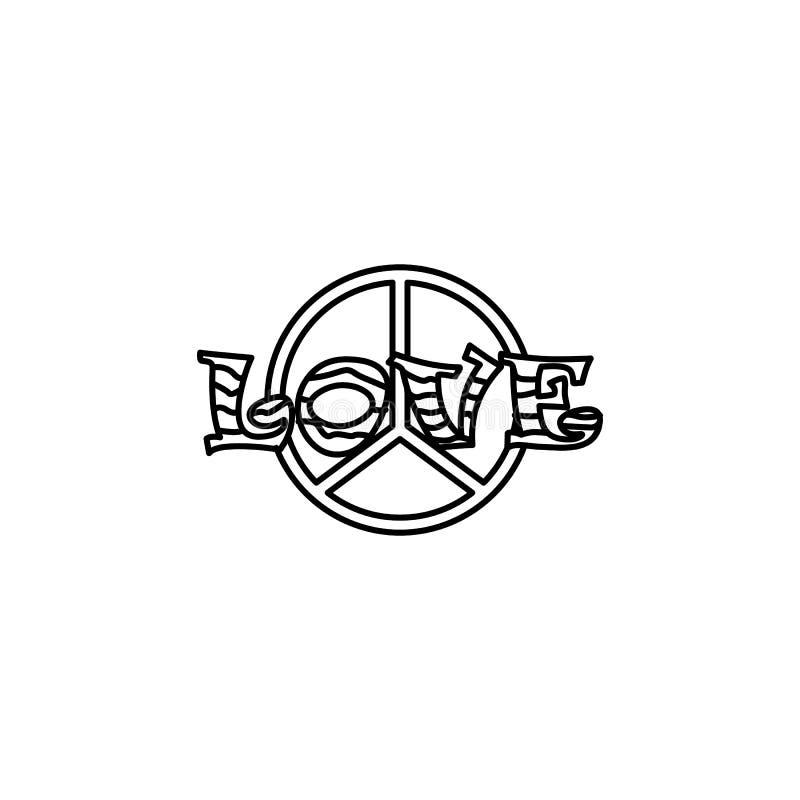 Signe de paix avec l'icône d'amour illustration de vecteur
