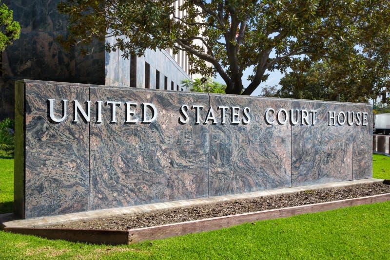Signe de palais de justice des Etats-Unis images libres de droits