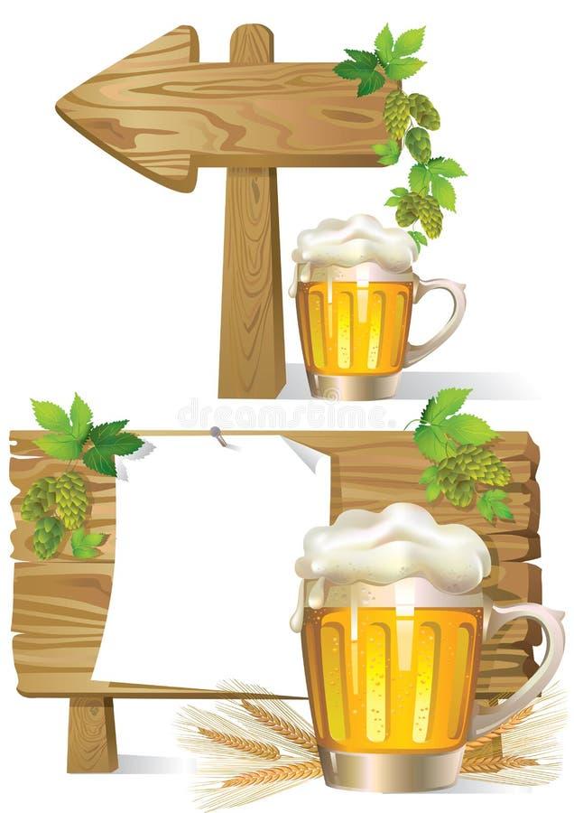 Signe de panneau en bois de bière illustration de vecteur