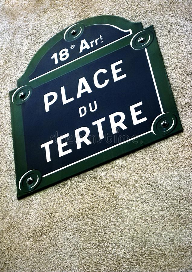 Signe de Place du Tertre photo stock