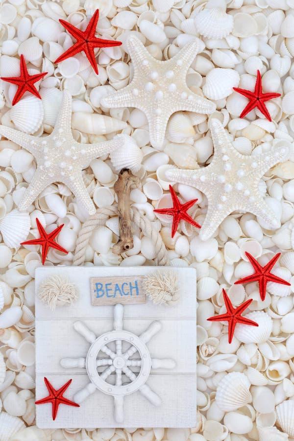 Signe de plage avec des étoiles de mer et des coquillages photographie stock libre de droits