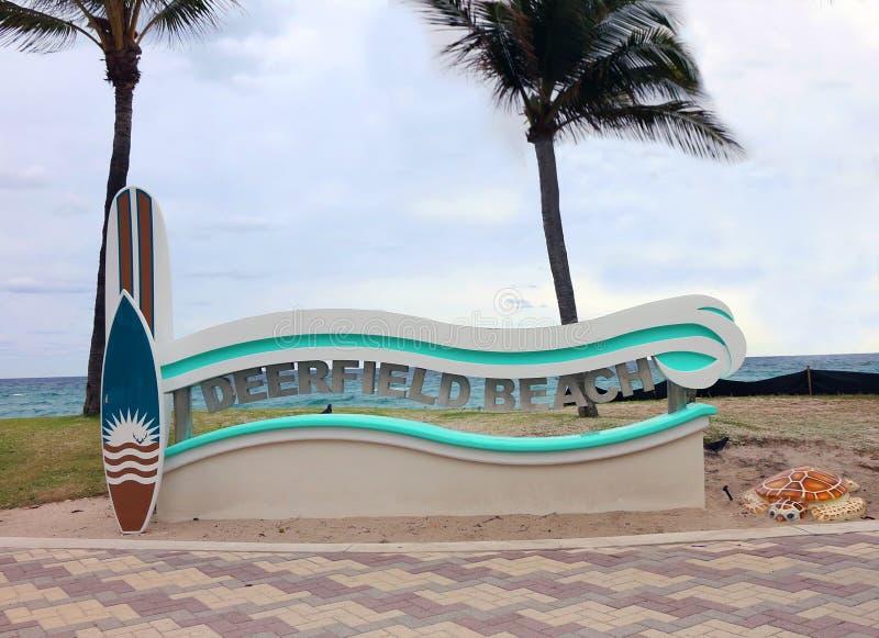 Signe de plage de Deerfield photographie stock libre de droits