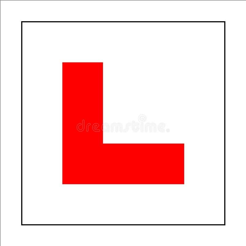 Signe de plat de conducteur d'étudiant Conduisez le symbole de débutant illustration stock