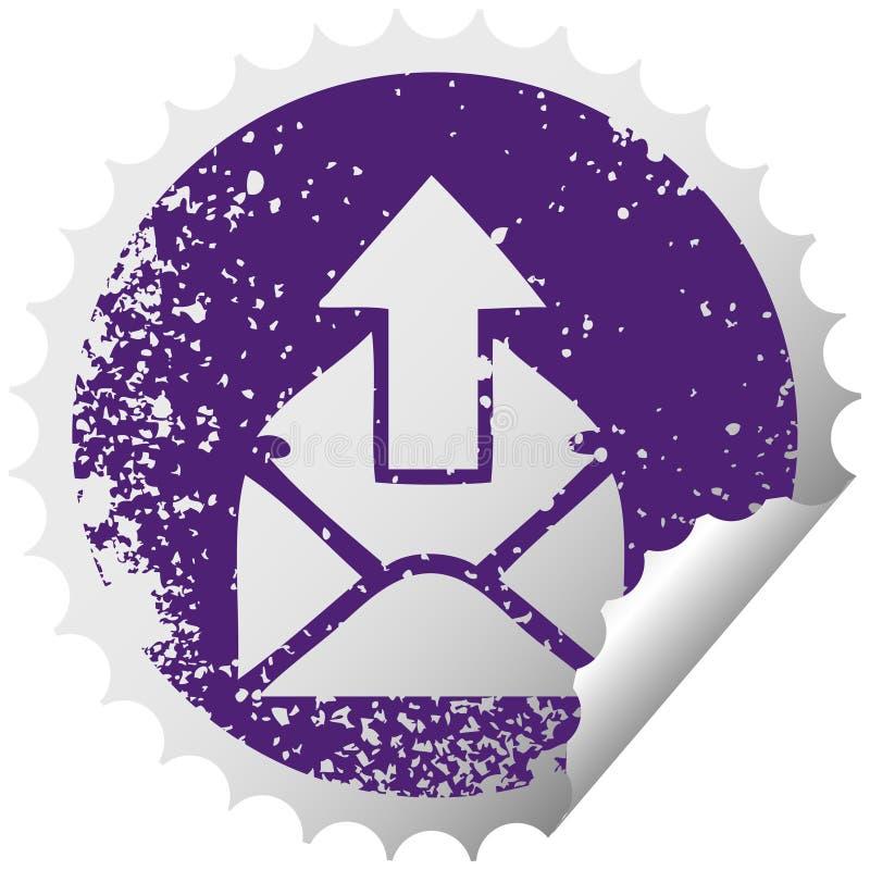 signe de ?pluchage circulaire afflig? d'email de symbole d'autocollant illustration stock