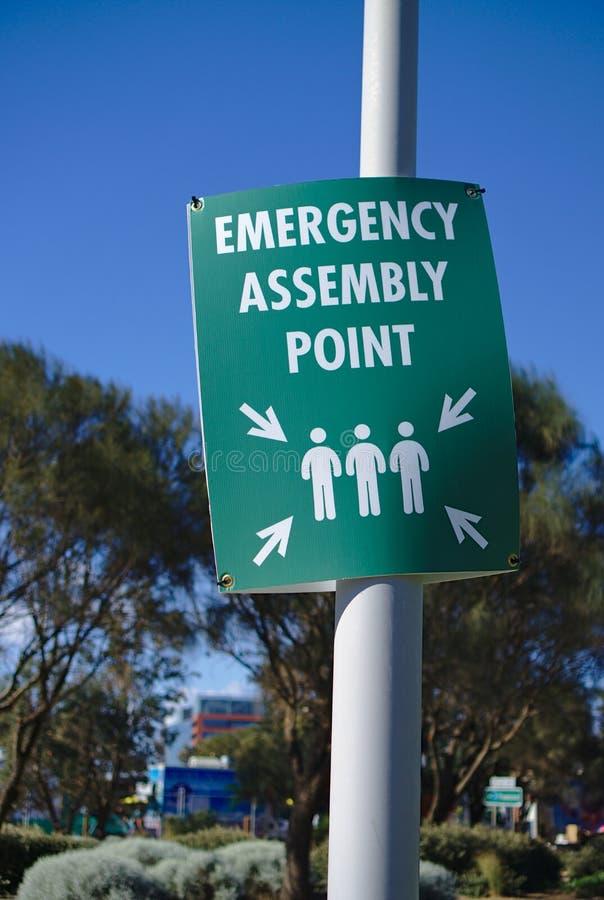 Signe de point d'assemblée de secours photos stock