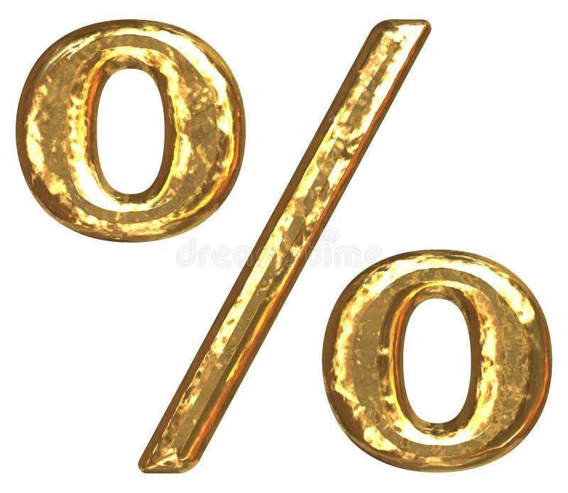 signe de pour cent d'or de fonte illustration stock