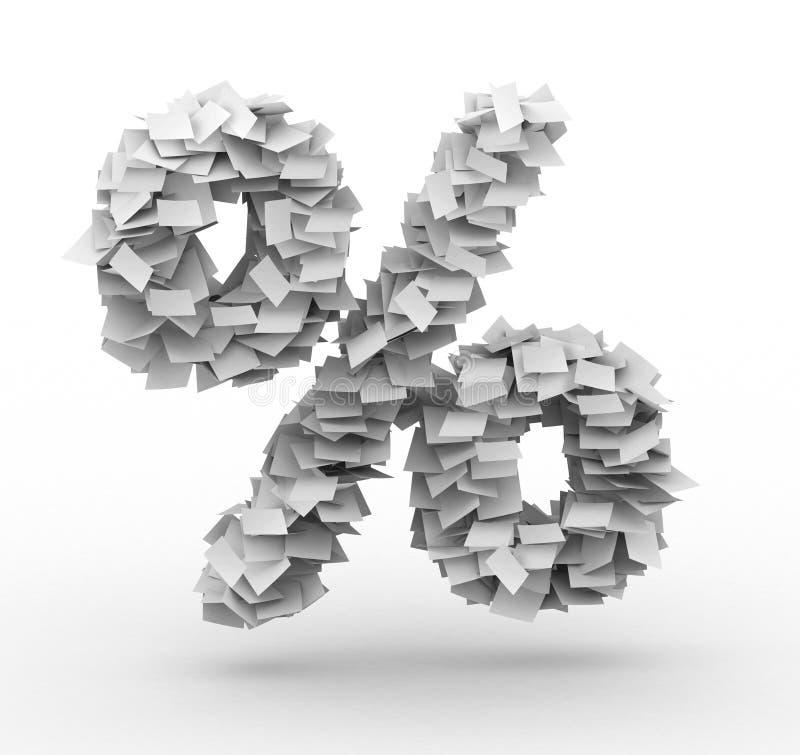 Signe de pour cent, empilé des feuilles de papier illustration libre de droits