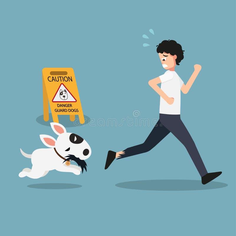 Signe de précaution de chiens de garde de danger illustration libre de droits
