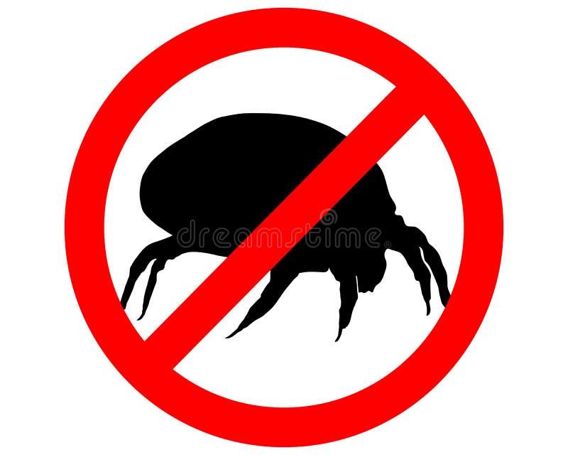 Signe de prohibition pour des acarides de la poussière de maison illustration libre de droits