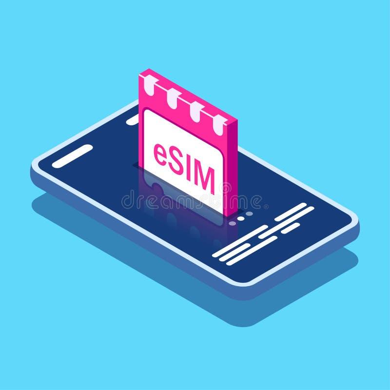 Signe de puce de carte d'ESIM Concept inclus de SIM Nouvelle technologie de communication mobile Peut employer pour la banni?re d illustration de vecteur