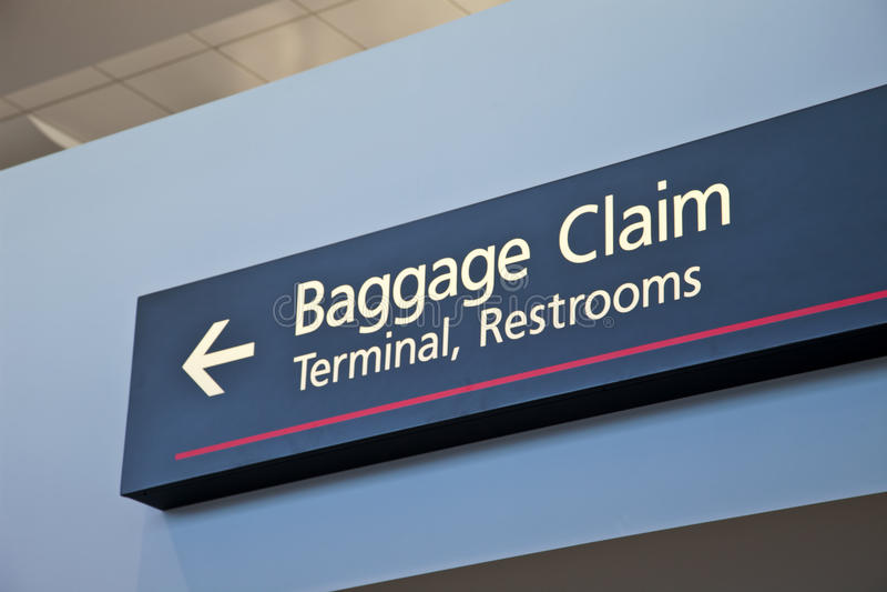 Signe de réclamation de bagages photo libre de droits