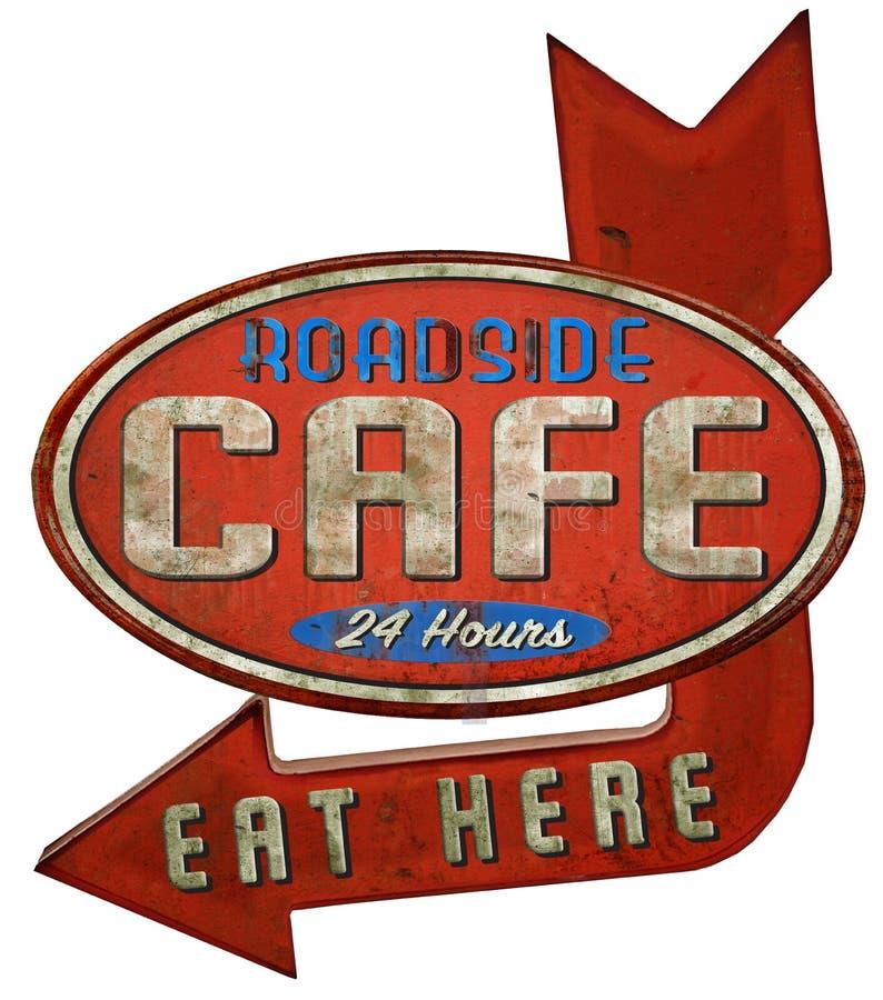 Signe de restaurant de café de wagon-restaurant de bord de la route illustration de vecteur
