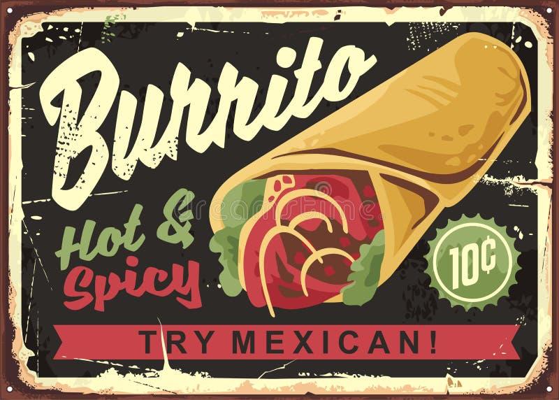 Signe de restaurant de cru de Burrito illustration libre de droits