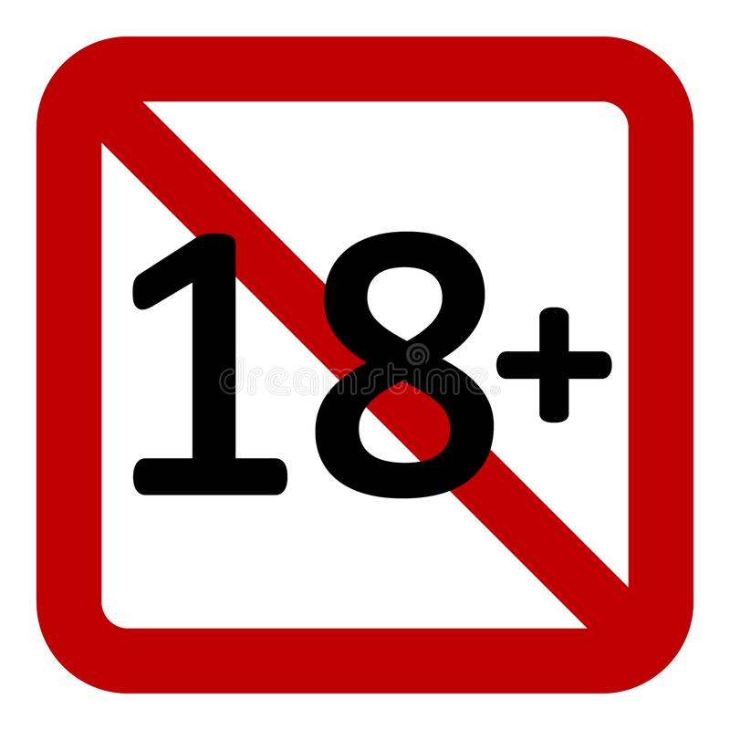 Signe de restriction de 18 âges illustration stock