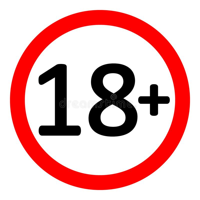 Signe de restriction de 18 âges illustration libre de droits