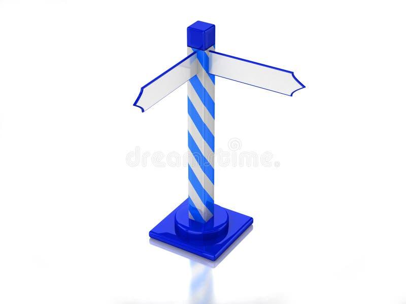 signe de route 3D éliminé bleu illustration stock