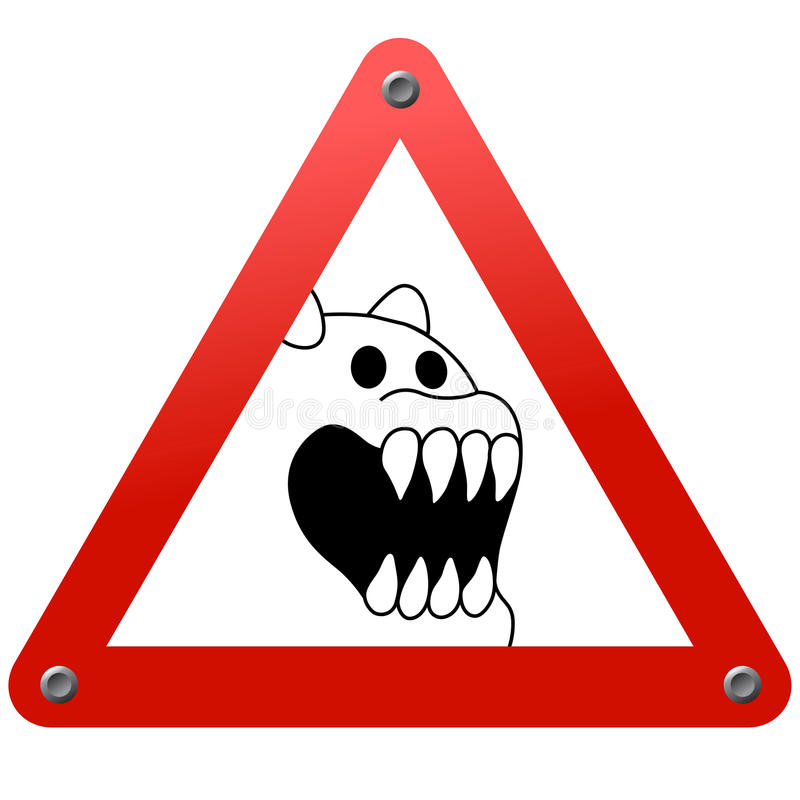 Signe de route. Danger ! Animal effrayant ! photographie stock