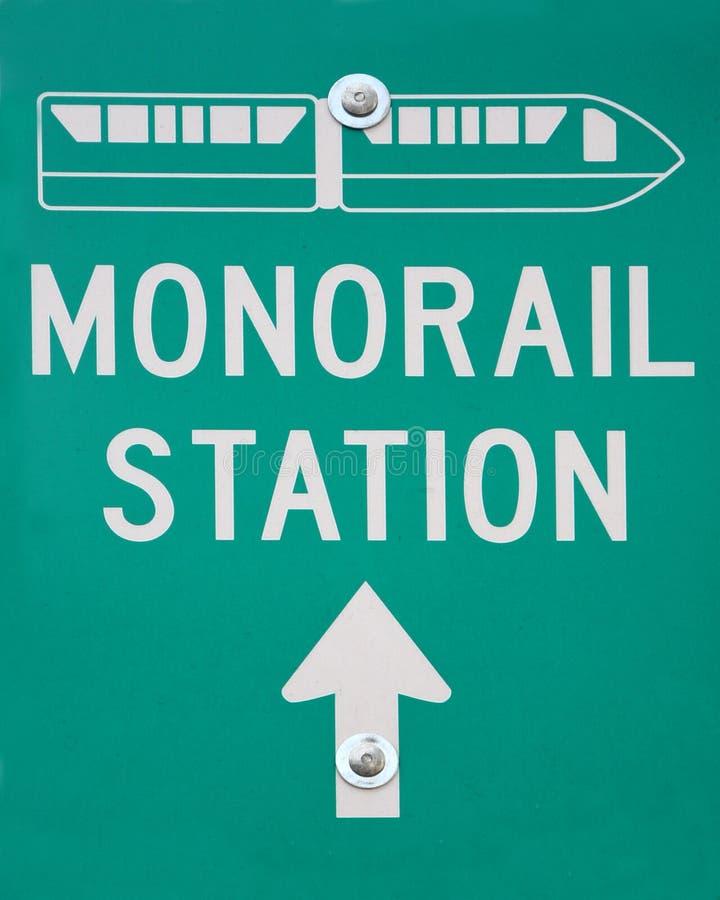 Signe de route de gare de monorail photos stock