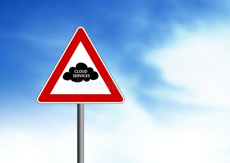 Signe de route de services de nuage illustration de vecteur