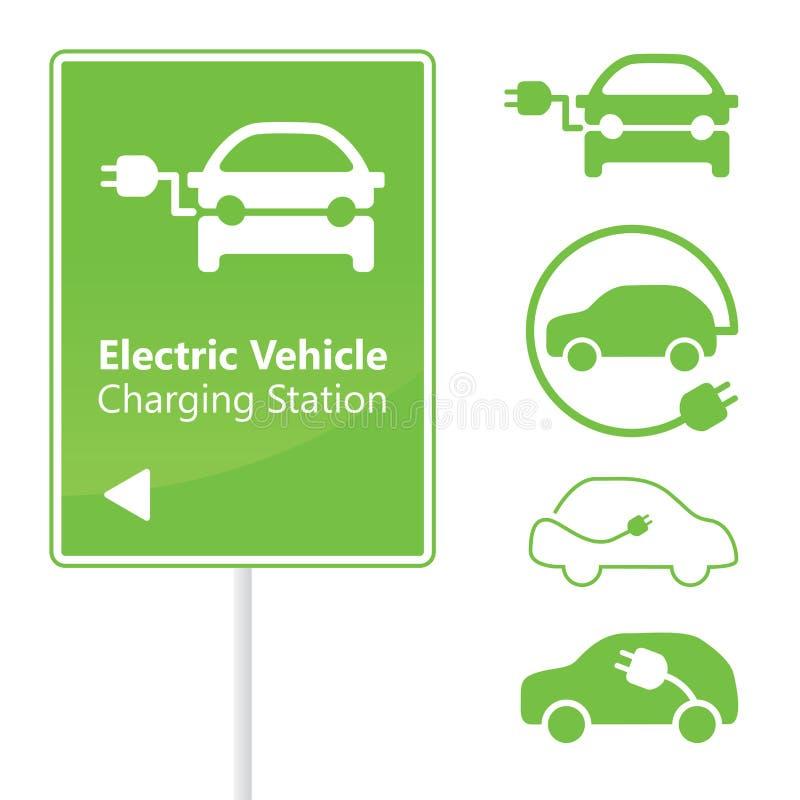 Signe de route de station de charge de véhicule électrique illustration libre de droits