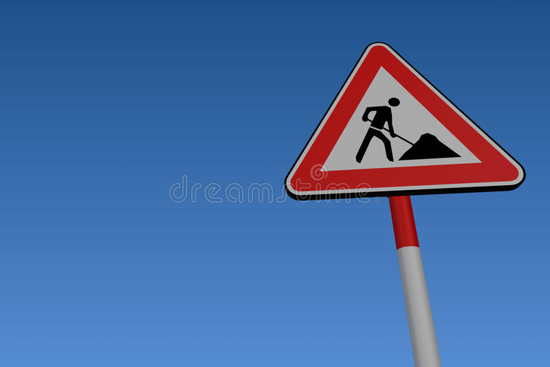Signe de route de travaux de route illustration libre de droits