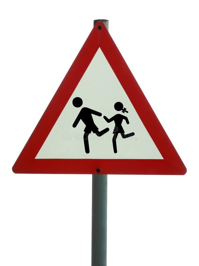 Signe de route - enfants en avant photo libre de droits