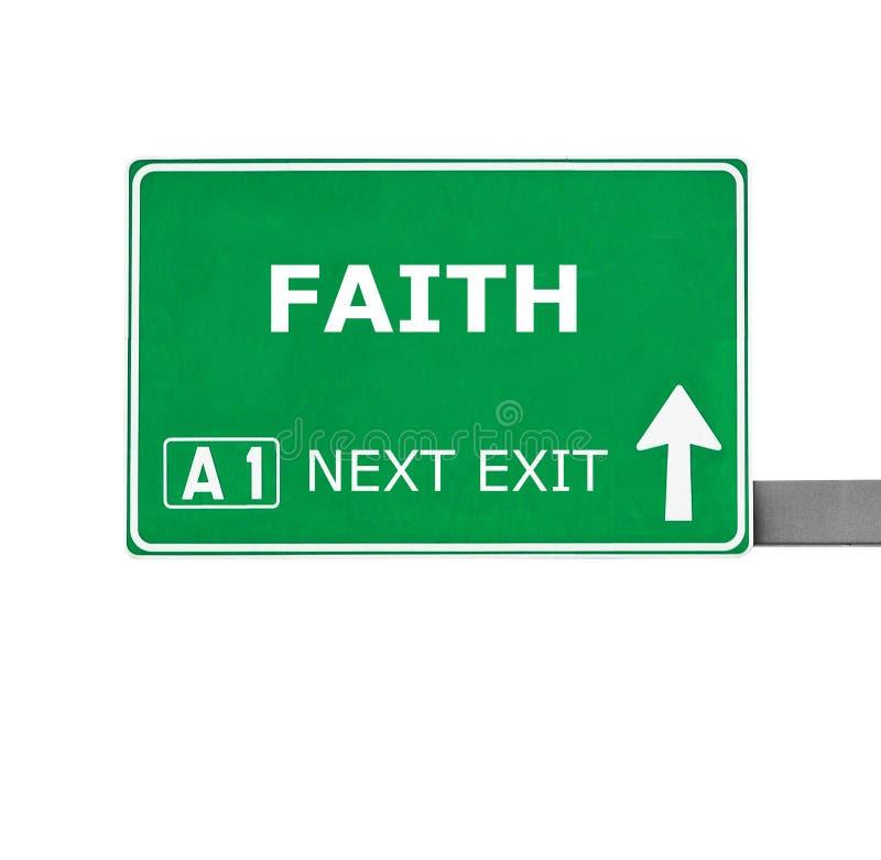Signe de route de foi d'isolement sur le blanc images stock