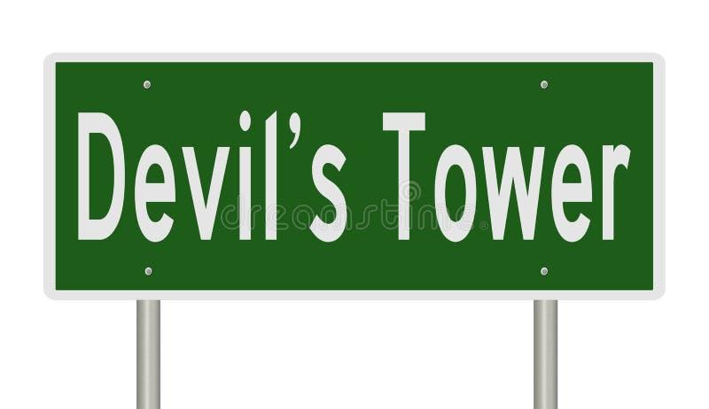 Signe de route pour la tour Wyoming du diable photo libre de droits