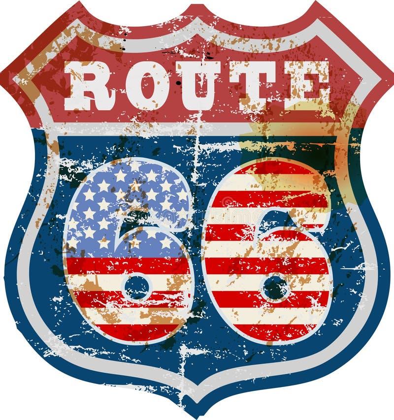 Signe de Route 66, rétro et sale illustration libre de droits