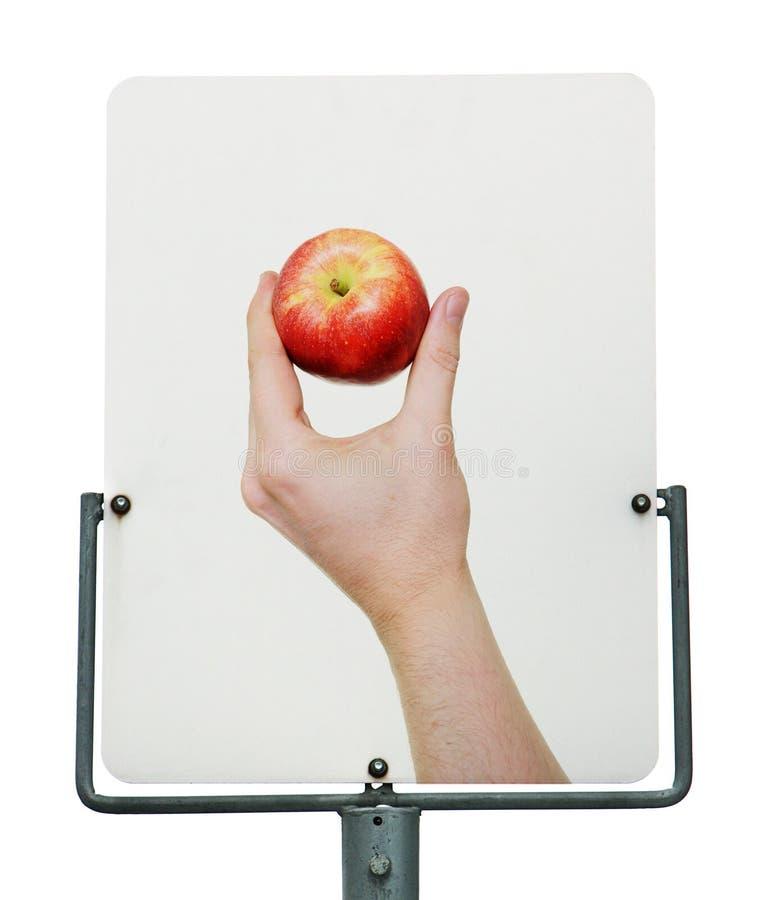 Signe de route rouge de pomme photo libre de droits