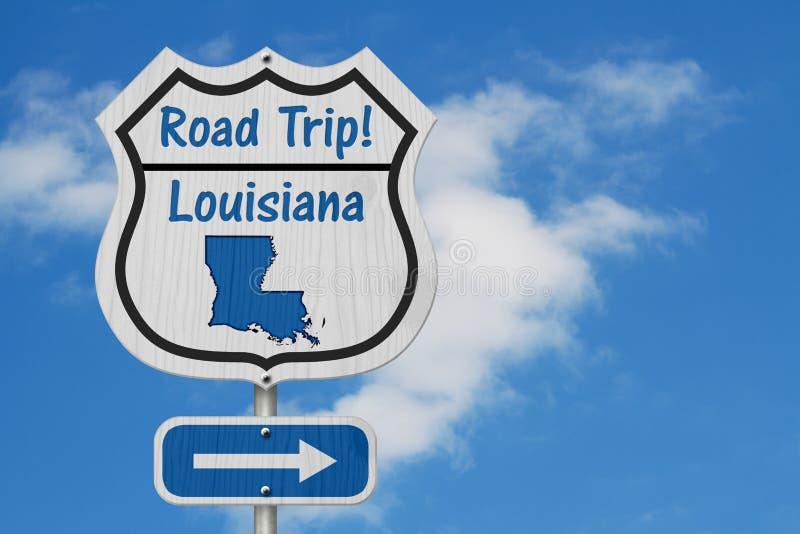 Signe de route de voyage par la route de la Louisiane photographie stock libre de droits