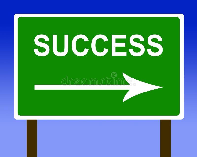 Signe de rue de route de sens de réussite et le ciel illustration de vecteur