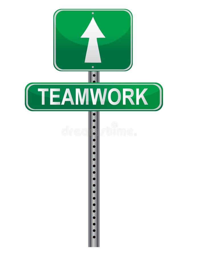 Signe de rue de travail d'équipe illustration stock