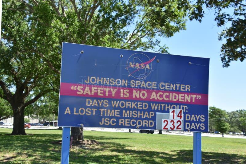 Signe de sécurité au centre spatial Houston dans le Texas photos stock