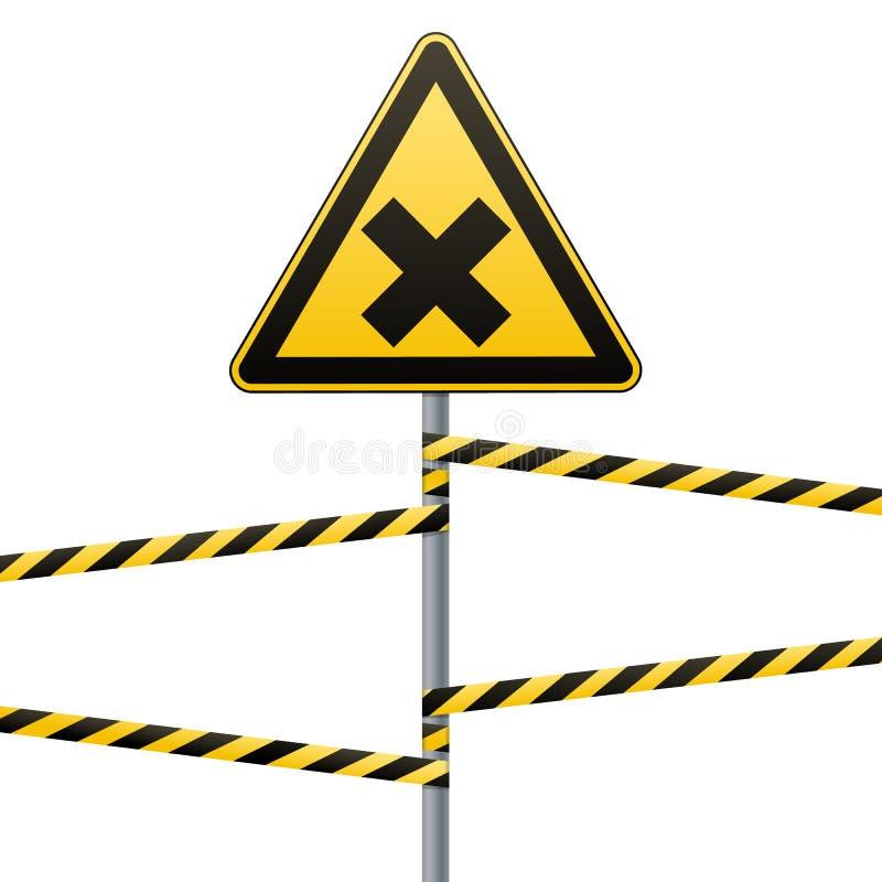 Signe de sécurité Précaution - danger néfaste aux substances irritantes allergiques de santé Bande de barrière vecteur prêt d'ima illustration de vecteur