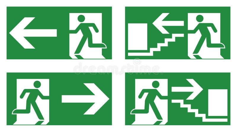 Signe de sécurité de sortie de secours Icône courante blanche d'homme sur le dos de vert illustration de vecteur