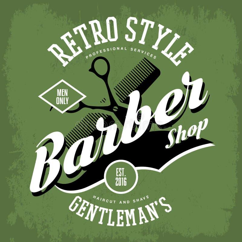 Signe de salon de coupe de cheveux de salon de coiffure ou de vintage illustration de vecteur