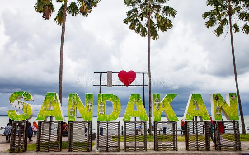 Signe de Sandakan d'amour, Sabah, Born?o, Malaisie photographie stock libre de droits