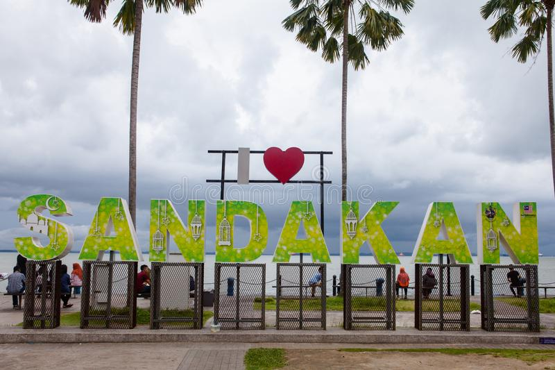 Signe de Sandakan d'amour, Sabah, Born?o, Malaisie photo libre de droits