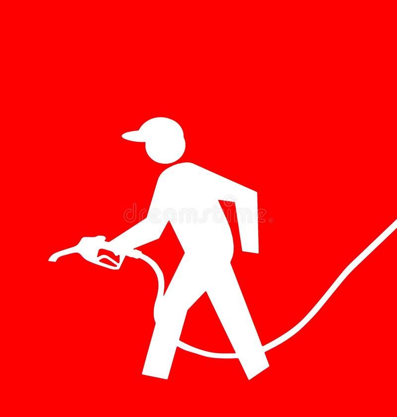 Signe de service complet de pompe d'essence avec le symbole blanc du préposé de pompe à essence tenant une pompe sur un fond roug illustration libre de droits