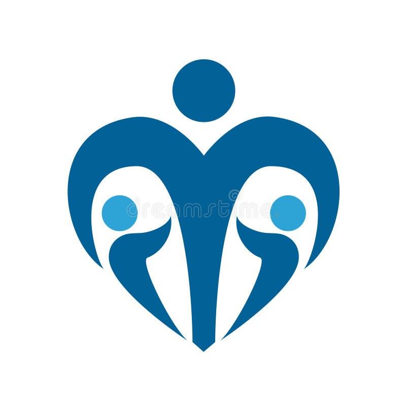 Signe de social de protection d'enfants Logo de bleu marine de garde d'enfants Illustration d'isolement Vecteur illustration de vecteur