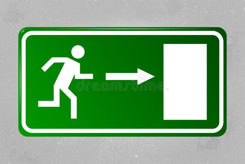 Signe de sortie de secours accrochant sur un mur en béton illustration de vecteur