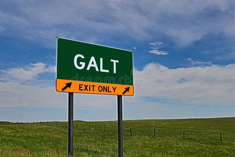 Signe de sortie de route des USA pour Galt photo stock
