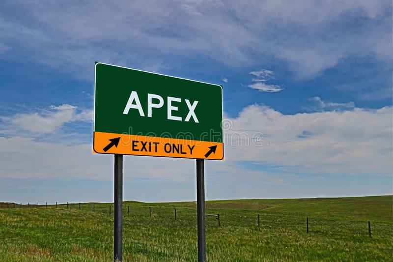 Signe de sortie de route des USA pour l'apex images stock