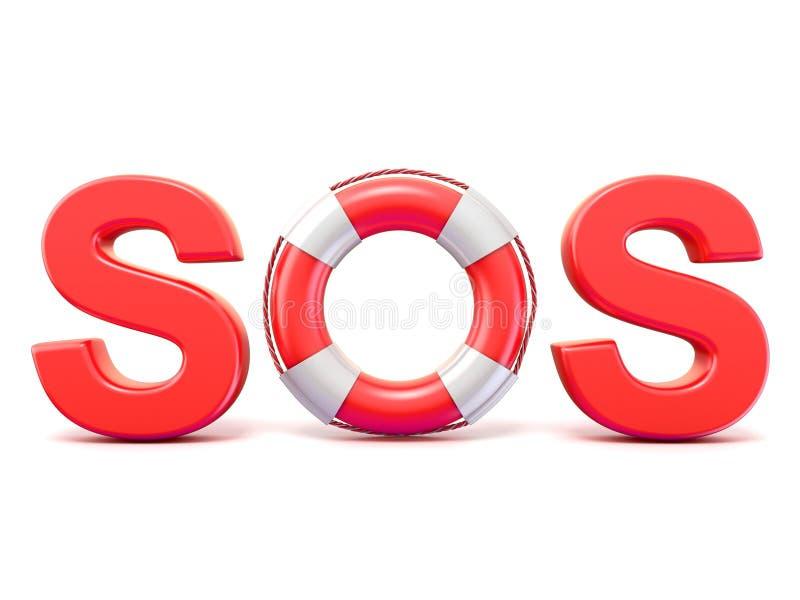 Signe de SOS, avec des bouées de sauvetage 3d rendent illustration libre de droits